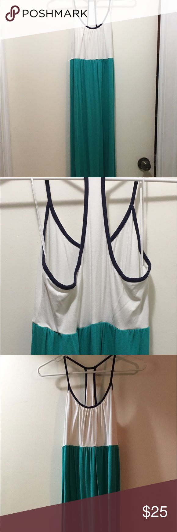 White and teal maxi dress Excellent condition. Super stretchy long maxi dress. Worn twice. Size small. Kenar Dresses Maxi