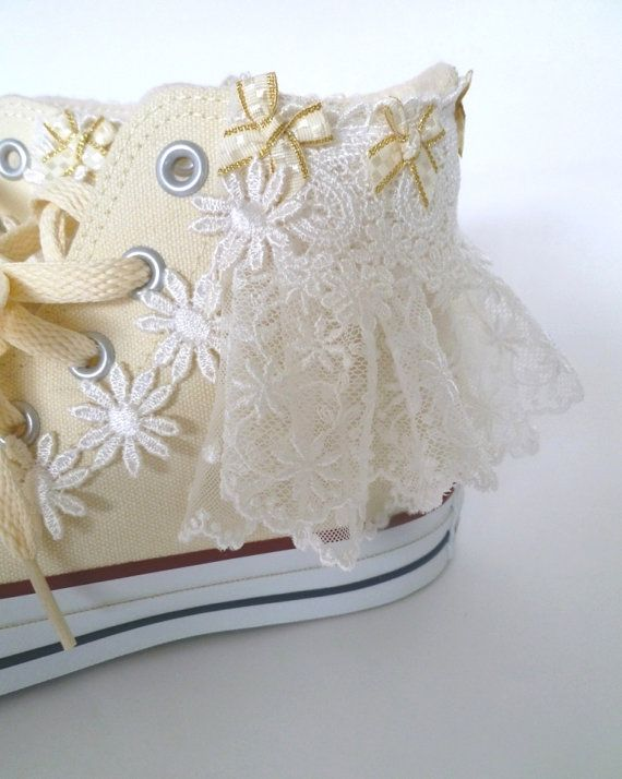 Fairy kei Kawaii Lolita Ruffle Lace Ribbon Wedding Converse White All Star Shoe Clips on Etsy, $25.00