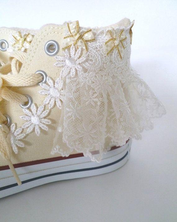 Fairy kei Kawaii Lolita Ruffle Lace Ribbon Wedding Converse White All Star Shoe Clips on Etsy, $25.00