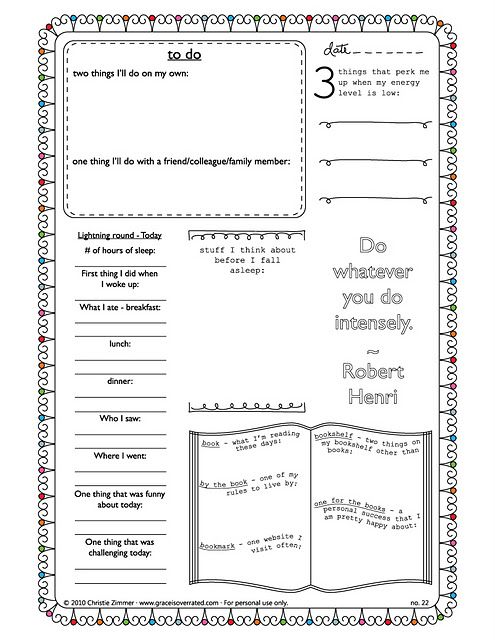 Printable journaling pages.  I absolutely LOVE this series of free prompted journal pages! XD