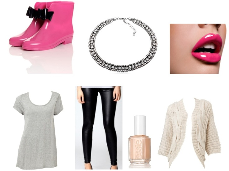 {Weekend Shopping Style} An Antique-Silver Crystalised Statement Necklace is the perfect addition, adding extra style to complete the look!     Wellington Boots - Boohoo Clothing  Leggings - Boohoo Clothing  Loose Grey Top - Sportsgirl  Cream Cardigan - Sportsgirl  Nail Polish - Essie  Statement Necklace - Queendom INNNN LOOVEEEE!!!!!!