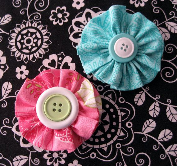 Fabric Flower Hair Clip...Flower Bow...Fabric Bow...Pink...(Set of Two)