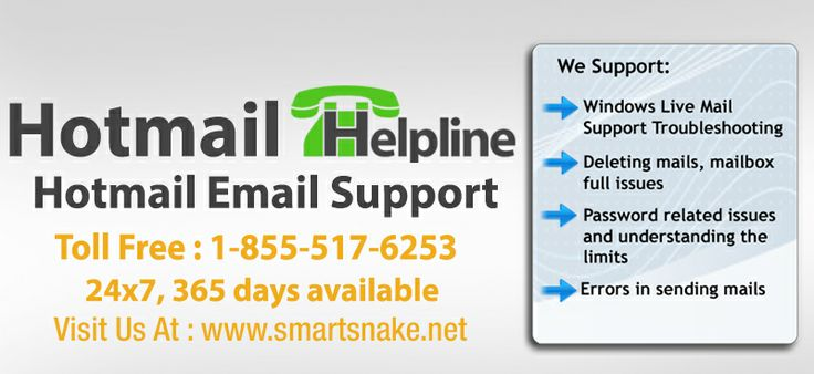 Burgeoning Hotmail issues can be easily taken care by our Hotmail email support technicians who are there for you at 1-855-517-6253. This is a toll-free Hotmail helpline of Smartsnake technicians who with the help of their experience give you relief from all such errors. Perfect Hotmail email support is thus knocking at your doorsteps. Call our Hotmail helpline- 1-855-517-6253 now.  For more details, click on this link >> https://www.smartsnake.net/hotmail-technical-support