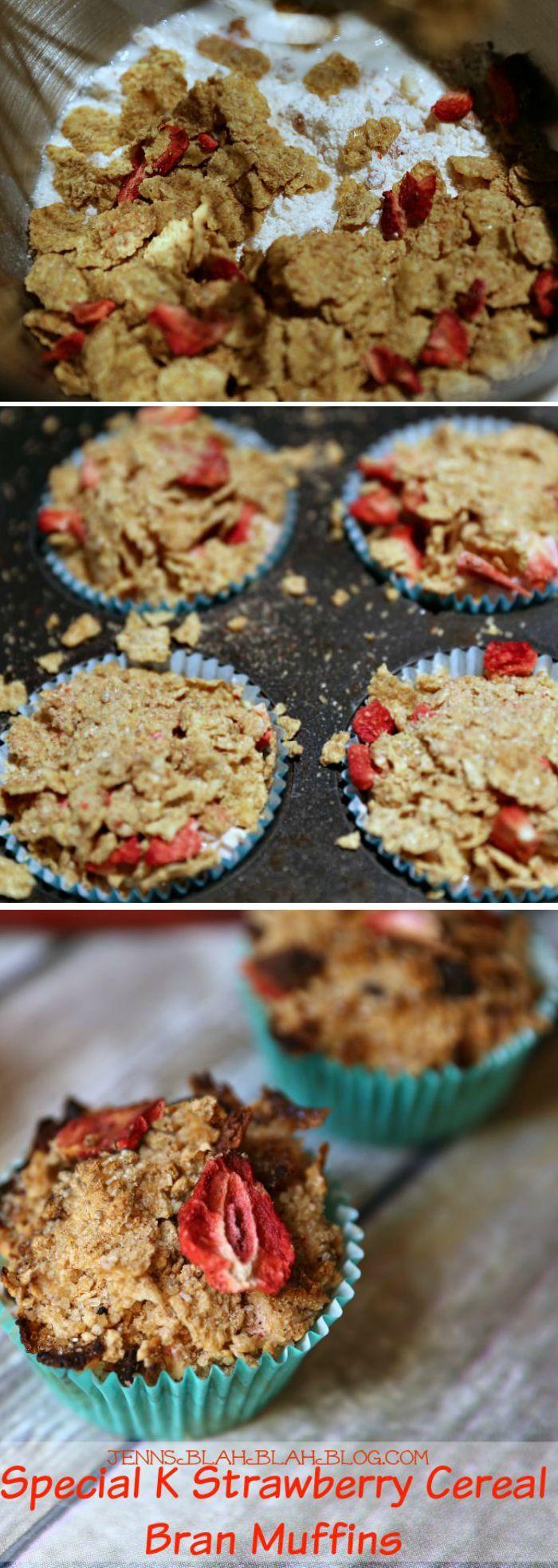 Special K Strawberry Cereal Bran Muffins Recipe |  JennsBlahBlahBlog.com | @jenblahblahblog AD ESFS