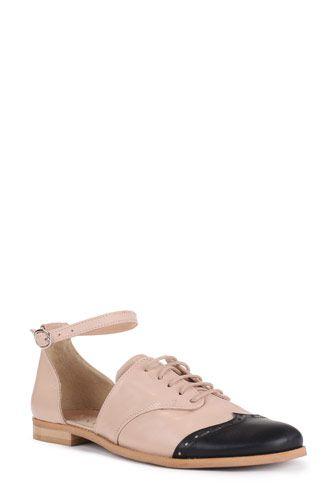 Pantofi oxford nude rose din piele naturala 243