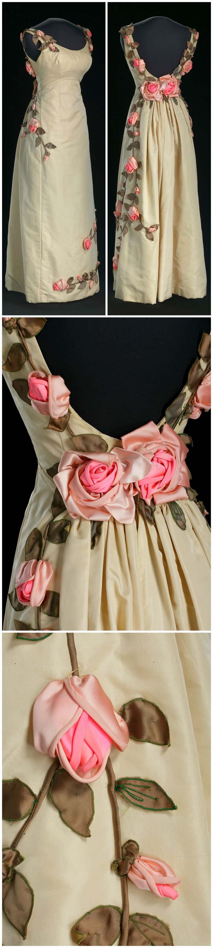 Debutante dress, designed by Ann Lowe, 1966-67. Worn by Barbara Baldwin Dowd. Silk, tulle, linen, metal, and elastic. Collection of the Smithsonian National Museum of African American History and Culture.