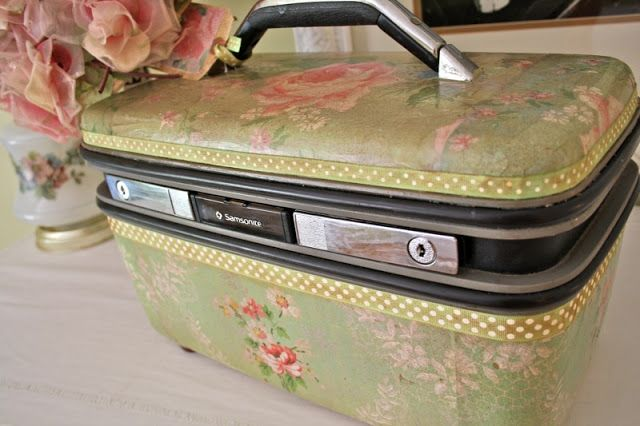 Vintage WallPaper Covered Suitcase