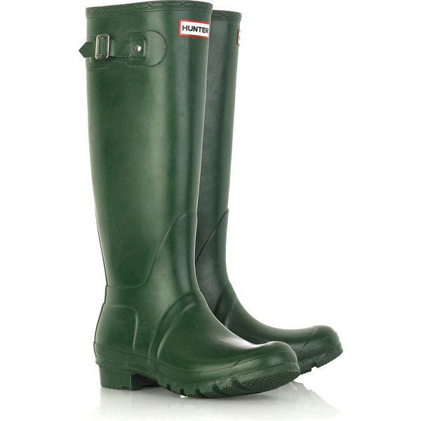 Hunter Original Tall Wellington boots (€115) ❤ liked on Polyvore featuring shoes, boots, green, hunter, scarpe, green wellington boots, platform boots, green boots, wellington boots and low heel boots