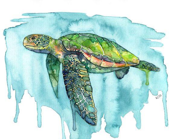 Acquerello Sea Turtle Painting  stampa di TheColorfulCatStudio