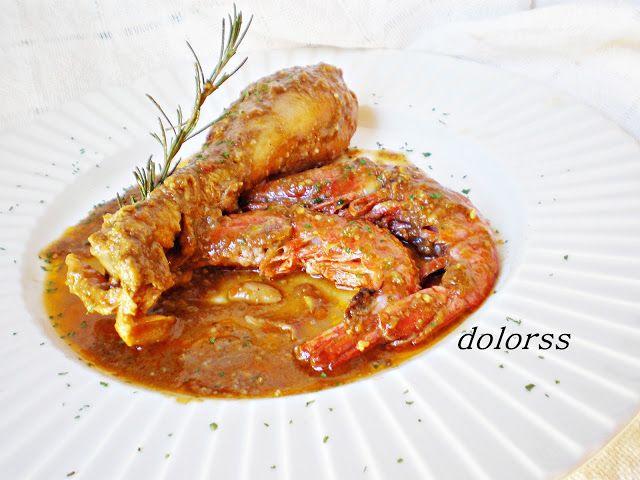 Blog de cuina de la dolorss: Mar y montaña: Pollo con gambas y picada de almendras