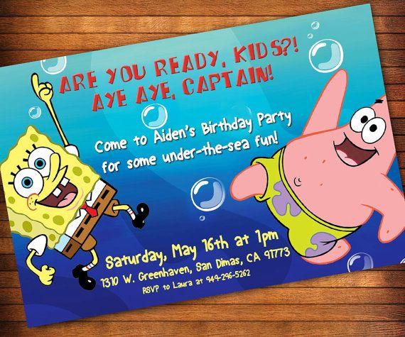 12 best Sponge Bob invitations images – Spongebob Birthday Party Invitations