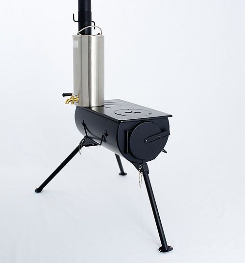 Frontier Portable Wood Burning Stove WITH Water Heater Camping Cooker Heater BBQ