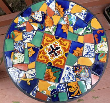 Mosaic table  Mexican tiles foldable 15.5  in by SunAndCraft, $99.00
