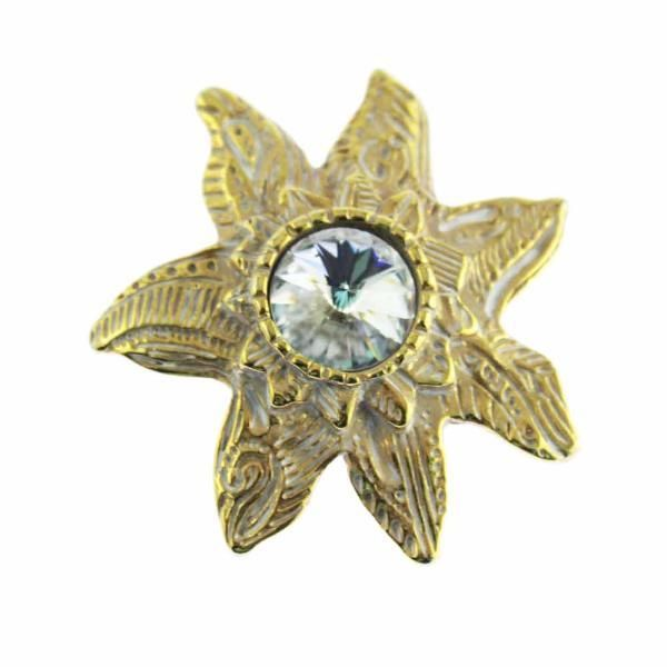 Large Gold and White Brooch with Large Rhinestone
