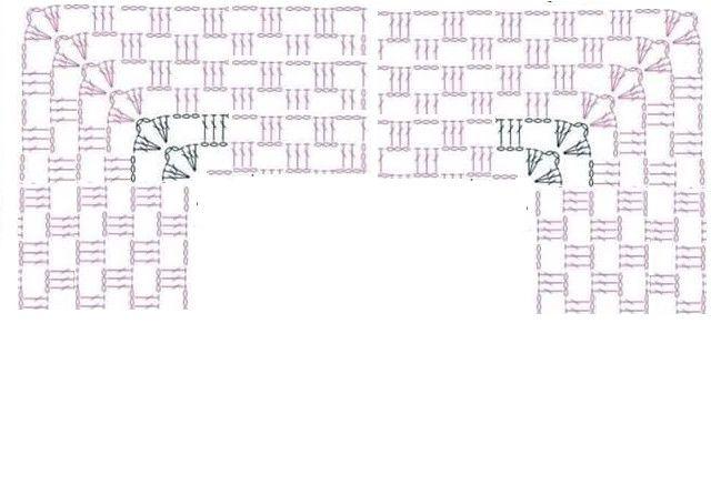Para realizar éste poncho hacemos una hilera de cadenas y sobre ellas tejemos: MATERIALES 900 grs de acrílico grueso Aguja de crochet N° 5  o   N° 6 DESARROLLO 3 varetas 3 cadenas…….. (como nos indica el gráfico) esa primera hilera debe de medir 60 cms. Tener en cuenta que vamos a hacer aumentos en dos lugares (a los 15 cms, y a los 45 cms ) uno enfrente del otro, como nos muestra el diagrama, Continuar…