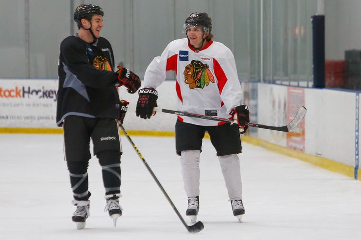 Looks like Andrew Shaw is happy to see Patrick Kane back on the ice! #Blackhawks