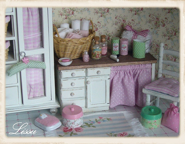 bath shabby chic badezimmer dollhouse miniatures. Black Bedroom Furniture Sets. Home Design Ideas