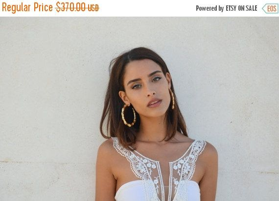 ON SALE Boho wedding dress strapless wedding dress by Barzelai