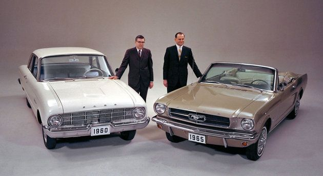 Many people do not know that the iconic Mustang, a beloved pony car since 1964, was based upon the utilitarian Falcon, a car designed for older, more conservative drivers.  Ford executives Donald Frey and Lee Iacocca pose with the Falcon and Mustang.