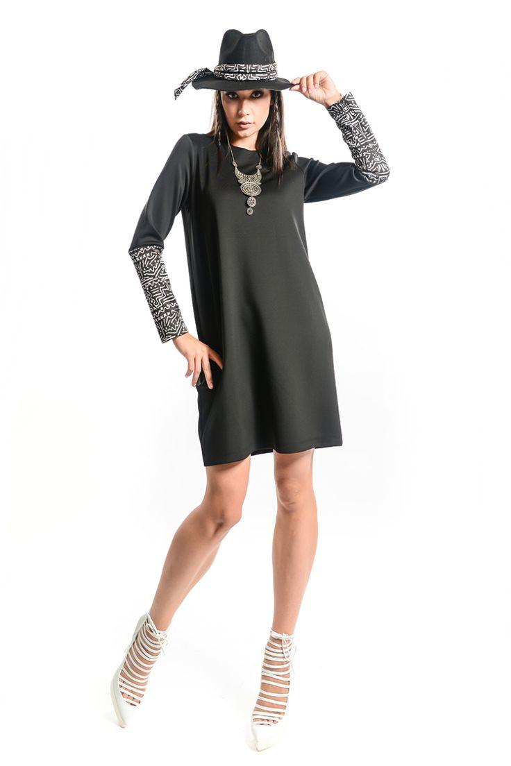 Çağıl Etnik Kol Elbise - Siyah