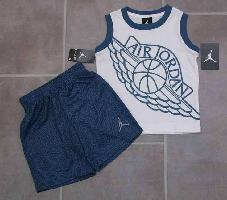 Air Jordan Toddler Boy 2 Piece Tank & Shorts Set ~White, Blue & Gray ~Basketball #Jordan #Jumpman #ToddlerBoy #Basketball
