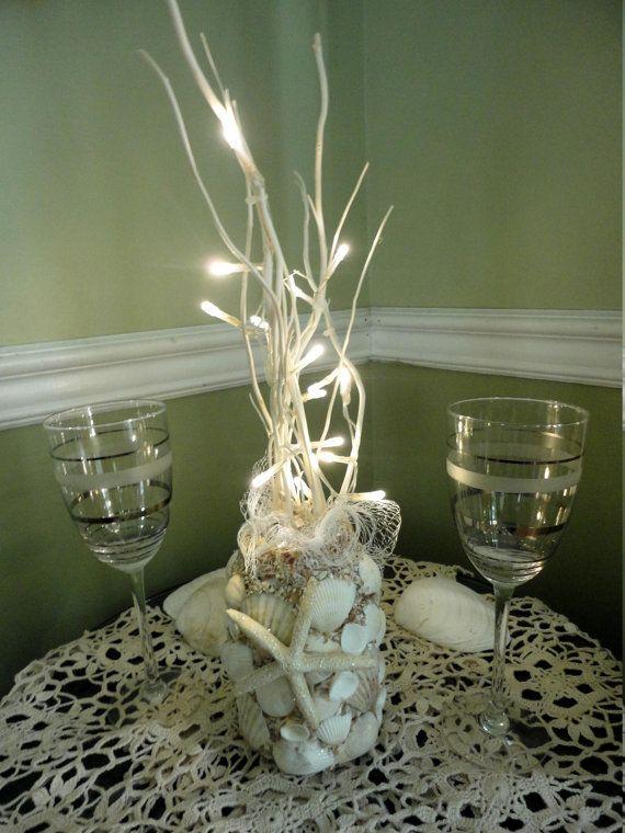 nautical decor sea shell beachy centerpiece vase by Ocean Theme Wedding Centerpieces Centerpiece Vase Ideas