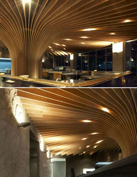An abstract interpretation of a tree canopy forms the basis of the Tree Restaurant, located near Sydney, Australia and designed by Koichi Takada Architects.