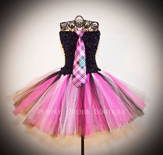 Hey, I found this really awesome Etsy listing at https://www.etsy.com/listing/170567101/monster-high-inspired-pink-plaid-tutu