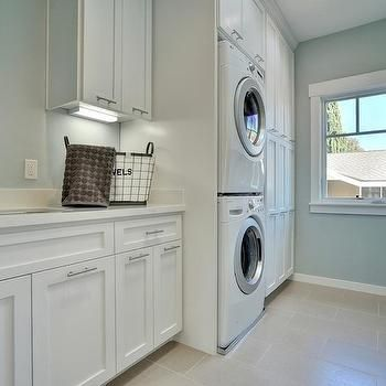 Stacked Washer Dryer Transitional Laundry Room Fiorella Design