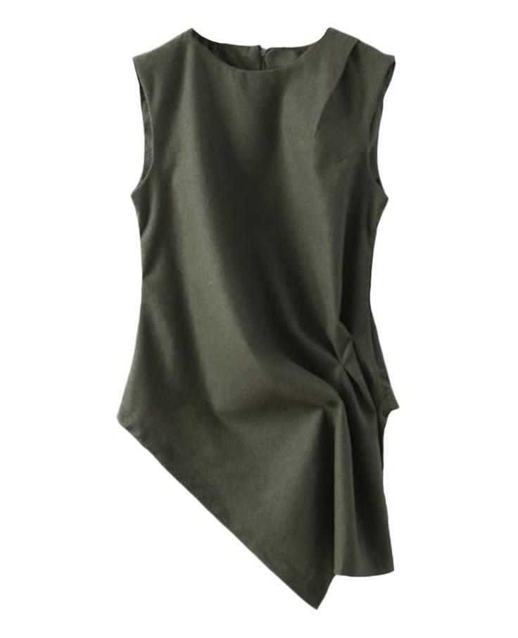Asymmetric Sleeveless Woolen Top | BlackFive