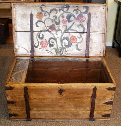 I love the strapping & inner lid design. Swedish Antique Hope Chest Circa 1780