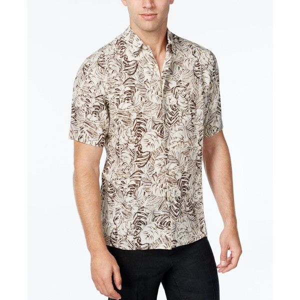 Tasso Elba Men's Silk Linen Leaf-Print Short-Sleeve Shirt, Classic Fit ($22) ❤ liked on Polyvore featuring men's fashion, men's clothing, men's shirts, men's casual shirts, khaki combo, mens short sleeve linen shirt, mens short sleeve shirts, mens casual short-sleeve button-down shirts, mens casual linen shirts and mens silk shirt