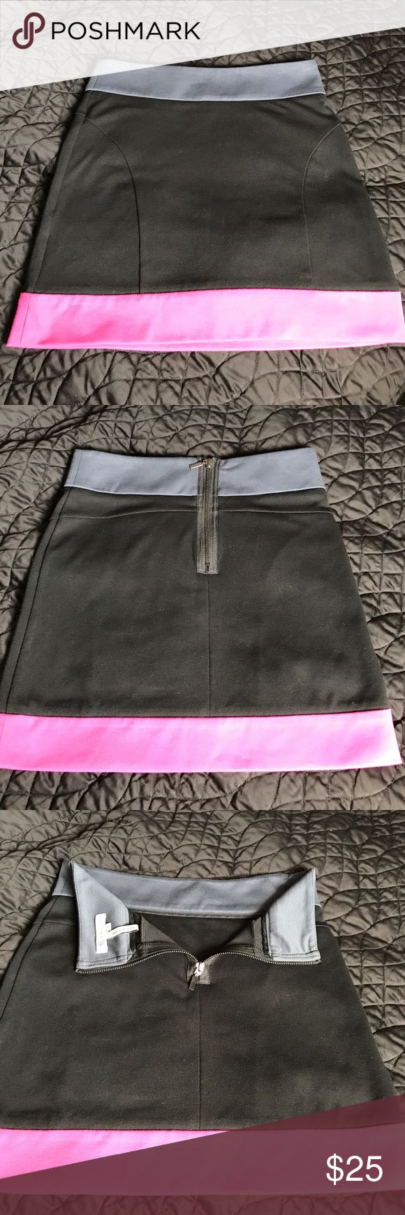 EUC BCBG COLOR BLOCK SKIRT Very gently worn multi colored skirt, a zipper on the back. No stains, rips, tears or frays. Size 8 but fits like a 6 BCBGeneration Skirts Midi