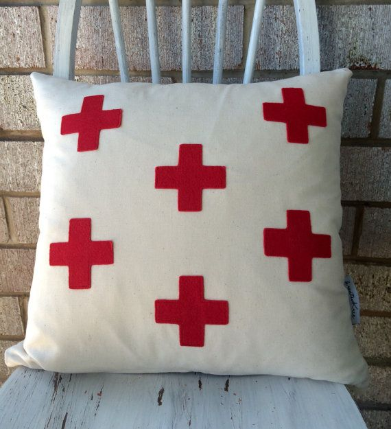 Decorative pillow red cross retro cool design by kreativKristine