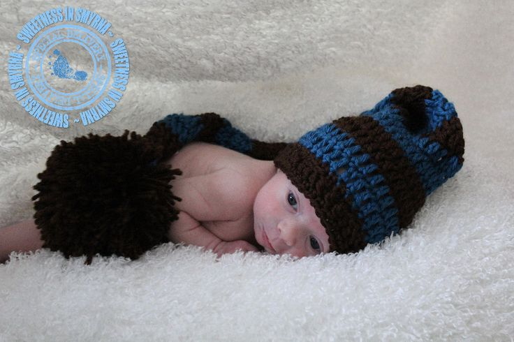 Baby Boy, Crochet Baby Hat, Stocking Cap, Elf Stocking Cap, Striped, Country Blue, Brown, Newborn to 3 months, Photo Prop, READY TO SHIP. $28.99, via Etsy.