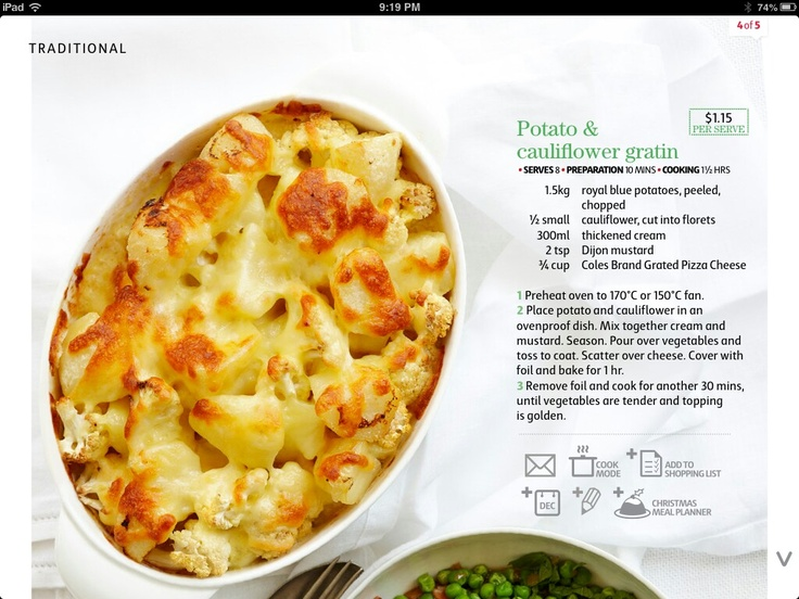 Potato and cauliflower gratin-Coles recipe