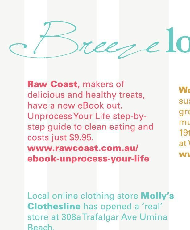 We were so excited to find our eBook, Unprocess Your Life, (http://www.rawcoast.com.au/ebook-unprocess-your-life/) mentioned in the latest issue of Breeze Magazine! http://issuu.com/breeze-mag/docs/breeze_issue_11/c/sls0z90