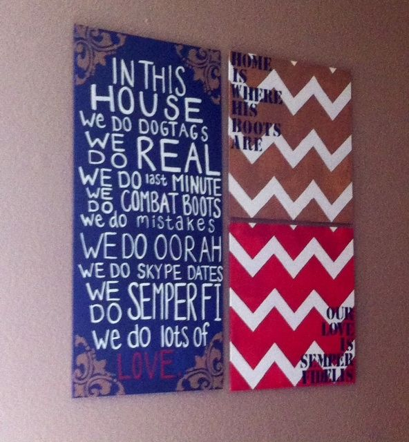 Crafted this for our bedroom // Military house // chevron stripes // USMC inspired // bedroom wall-art