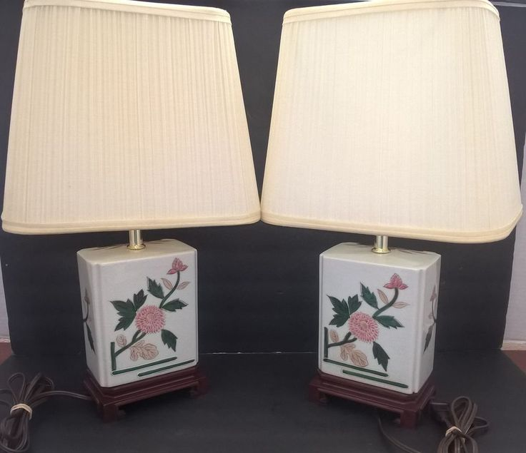 Asian Oriental Electric Table Lamp Painted Lotus Flower Set of 2