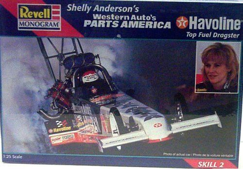 Revell Monogram 7651 Shelly Anderson's Western Auto's Parts America Havoline Top Fuel Dragster - Plastic Model Kit - 1:25 Scale - Skill Level 2 by Revell Monogram. $34.99. Revell Monogram 7651 Shelly Anderson's Western Auto's Parts America Havoline Top Fuel Dragster. Skill Level 2. 1:25 Scale. Plastic Model Kit. Molded in White. Revell Monogram 7651 Shelly Anderson's Western Auto's Parts America Havoline Top Fuel Dragster Plastic Model Kit 1:25 Scale Skill Level 2 Molded in Whit...
