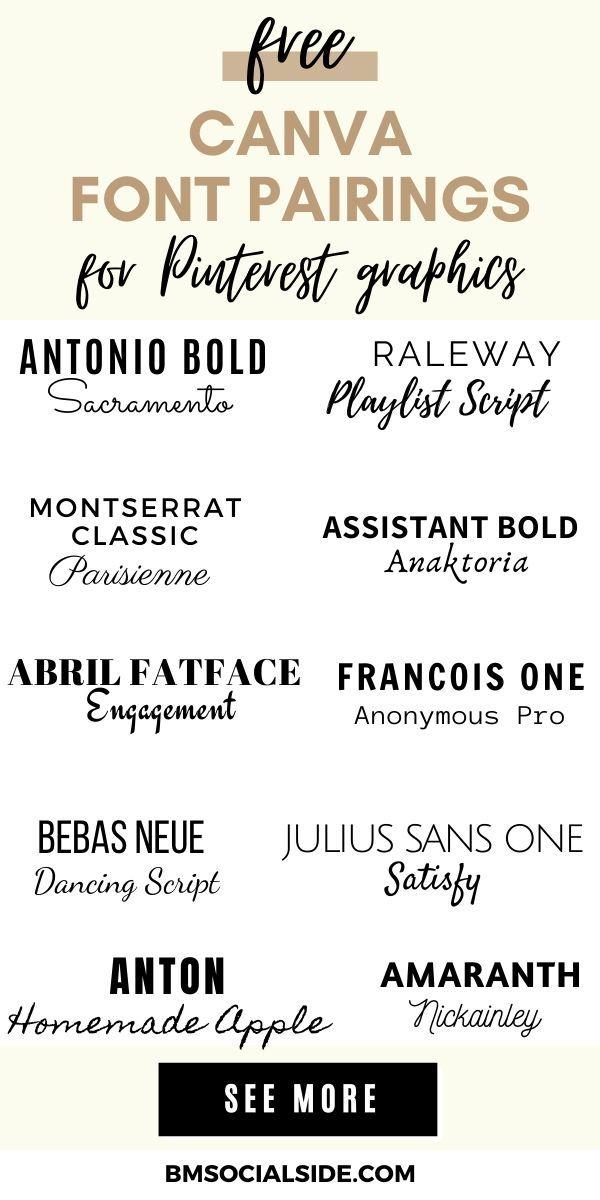 15 Best Canva Font Pairings For Pinterest Pins Bmsocialside In 2020 Font Pairing Brand Fonts Art Deco Font