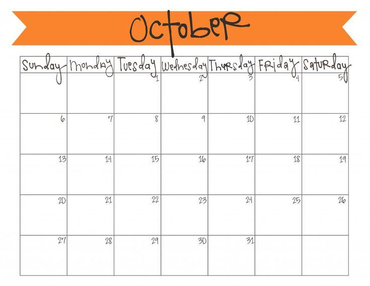 october printable calendar 2017
