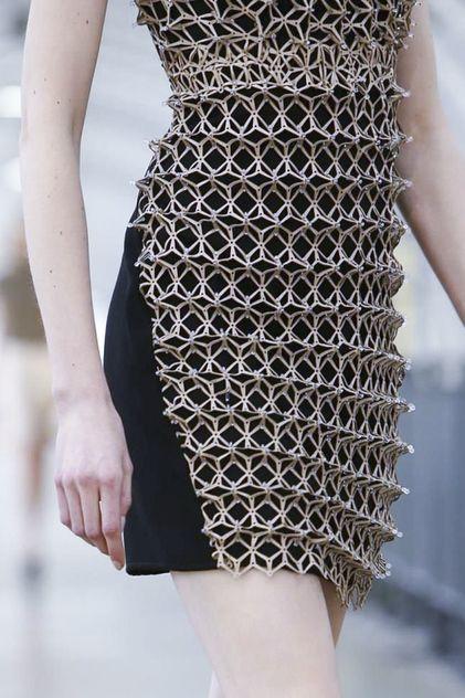 Dress with dimensional geometric embellishment; laser cut fashion details // Iris Van Herpen S/S 2015
