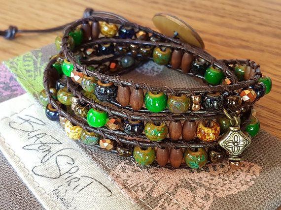 Beaded leather 3x wrap bracelet for 6.5 inch wrist by BlazonSpirit