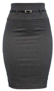 High Waist Belted Gray Pencil Skirt