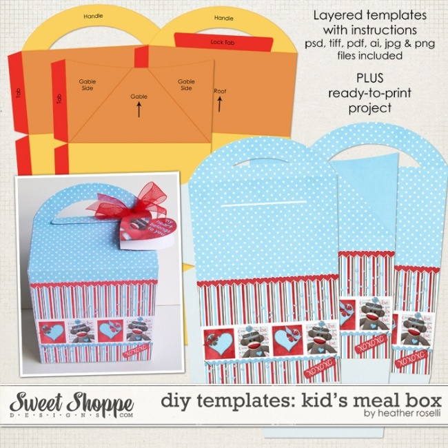 Diy Printable Templates Kid S Meal Box By Heather Roi Digi Wish List Pinterest Paper Crafts And Sbook