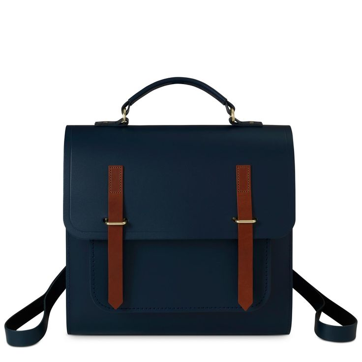 The Cambridge Satchel Company | Navy and Tan Saddle Bridge Closure Backpack