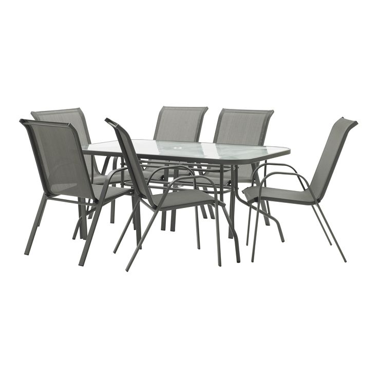 Marquee 7 Piece Steel Sling Back Setting - Bunnings Warehouse