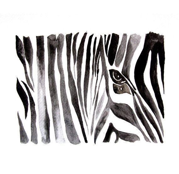 Watercolor painting  - ART PRINT - Zebra - $45