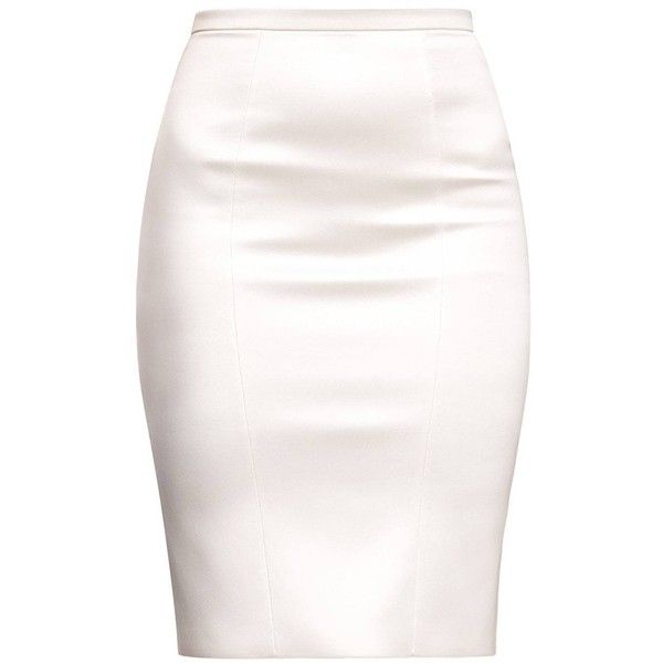 Alice Grace - Pearl Stretch Satin Pencil Skirt ($235) ❤ liked on Polyvore featuring skirts, bodycon skirt, knee length bodycon skirt, white body con skirt, body con skirt and pencil skirts